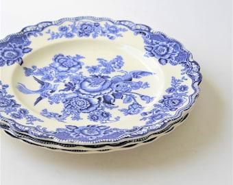 Reserved until 7/1: Vintage Crown Ducal Bristol blue transferware dinner plates, set of 3, RN762055, cottage dishware, cottage décor