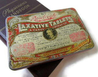 Tin; Antique Tin, Antique Medical Tin, Rawleigh Laxative Tablets Tin