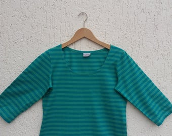 Vintage Marimmeko Womens Green Striped Marine Sweatshirt Long Sleeves Size Medium