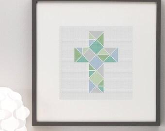 Geometric Cross Easter Cross Stitch Pattern