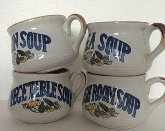 Vintage Soup Mugs Set of 4