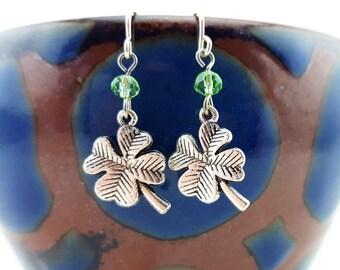 Silver shamrock earrings - shamrock charms - st patrick's day earrings - st paddy's day earrings - 4 leaf clover earrings - four leaf clover