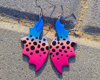 Pink Earrings, Blue Earrings, Butterfly Earrings, Dragon Earrings, Wings Earrings, Colorful Earrings, Big Earrings, Statement Earrings Fimo