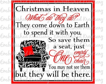 Angel/'Christmas in Heaven...' with Chair Vinyl Decal/Loss of Loved One/Memory Keepsake/In Loving Memory/Angel Ornament/Sympathy Gift