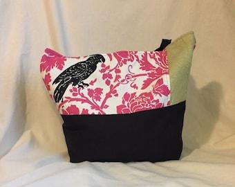 Tote bag / pink tote / black bird tote / pink and black bag / pink bag / gift for her