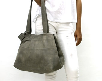 Sale!!! Tote leather bag, brown Leather bag, Tote, Leather bag, Handmade tote, bag for women, grey Leather and shoulder tote