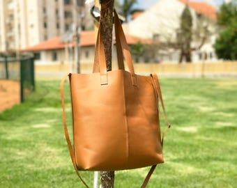 Sale!!! leather crossbody tote bag Cross body leather bag Cross body leather tote bag Camel leather crossbody purse