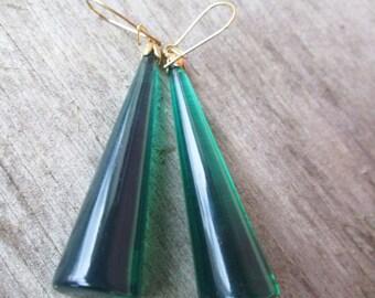 Vintage Long Green Lucite Column Earrings, Modernist Christmas Tree