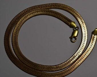 5.8-6mm Gold Plated Copper Herringbone Beveled Edge Chain (1070017)