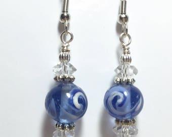Blue Glass White Swirly Design Earrings