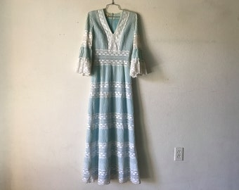 Vintage Dress 70's Gauze Cotton LACE Maxi Bell Sleeve Mexican Wedding Angel Wing Hippie Boho Bohemian