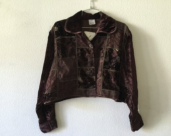 Vintage Blouse - Brown Velvet Lace Patchwork India