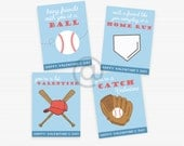 Printable Valentines, Baseball, Downloadable Valentines, School Valentines, Instant Download