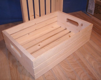 """18"""" wood crate, wooden crate,wood storage crate, slatted wood crate"""