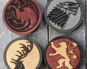 Game of Thrones 4-Piece Wood Coaster Set | Rustic/Vintage | Hand Stained and Glued | Stark | Targaryen | Lannister | Baratheon | Sigil