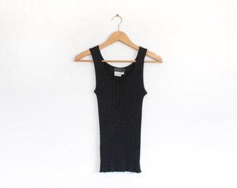 Black metallic 90s rib knit tank top