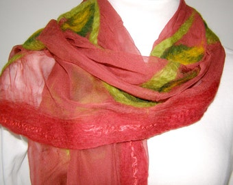 Nuno felt scarf red-green, silk scarf  chiffon silk felted in Nunotechnik, silk, merino wool, unique