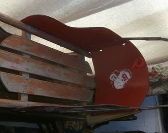 Vintage 1950s Christmas sleigh Santa reindeer stenciling wooden sled with sides and handle child's size display Fantastic