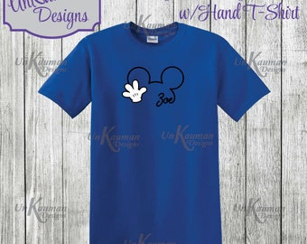 Disney Inspired Personalized Mickey Mouse w/Hand Design Toddler and Youth T-Shirts