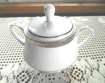 Noritake Queen's Platinum Lidded Sugar Bowl With Detailed Encrusted Platinum Border