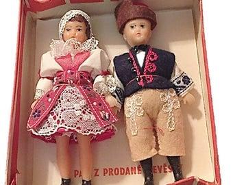 Beautiful Vintage Czechoslovakia Tatra Tatry Dolls Boxed 1977    Poland International Highlander Tatra Mountains Souvenir