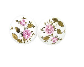 Porcelain Door Knob Hand Painted Floral Design   Vintage Cottage Chic Decor