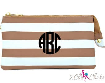 Striped Crossbody Purse, monogram clutch, monogram purse, bridesmaids gift, monogram wristlet, Preppy Stripes