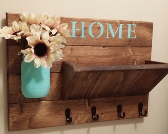 Key Holder , Rustic Home Decor, Key Rack  ,Home Sign,  Mail Holder, Mail Organizer,  Home sign,House warming, Hostess gift