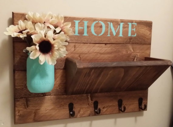 Key holder rustic home decor key rack home sign mail for Wooden art home decorations