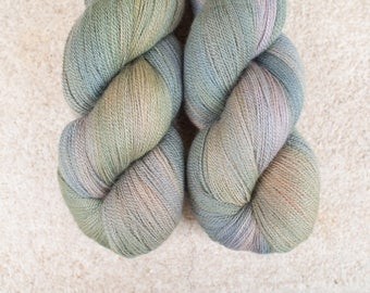 Hand Dyed 80/20 Extra Fine Merino/Silk Lace Weight Yarn - 2ply - 100 grams - 800m/880yards - OOAK blue-green