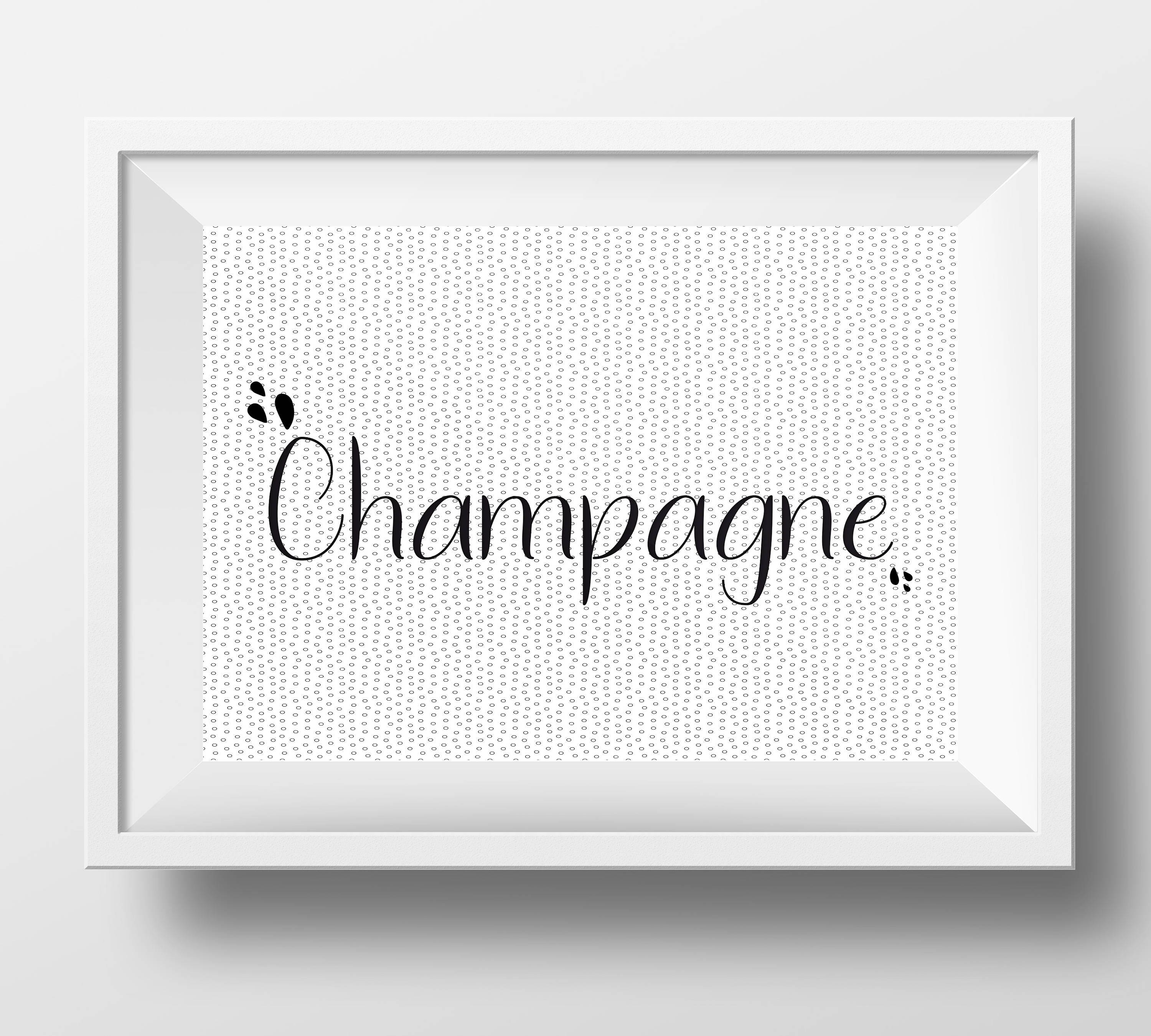 Champagne Postcard   Black And White   Home Decor   Gift Idea   French Word