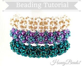 PDF-file Beading Pattern Amora Bracelet PDF-file  Beading Tutorial by HoneyBeads1
