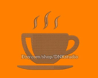 Steaming Coffee Cup Embroidery Design - 5 Sizes - INSTANT DOWNLOAD