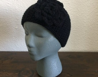 Black Flower Headwarmer | Button Earwarmer | Black Headband