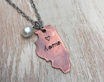 """Illinois State Copper Necklace Hand-stamped with freshwater pearl & 20"""" stainless steel chain"""
