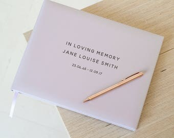 Personalized Lilac Leather Condolence Book, Memoriam Book, Lilac Leather Guest Book (OHSO34 - 11B3)
