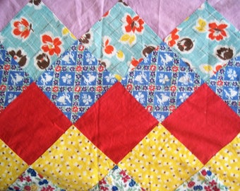 Vintage Hand Pieced Quilt Top - 30's or 40's - Patchwork