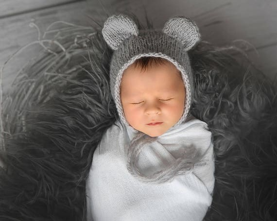 Pattern - Newborn Baby Bonnet with Ears Knitting Pattern