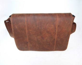 Classic Men's Flapover Messenger Bag - Multipurpose Everyday Bag - Dark Brown Leather