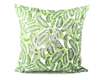 Tropical Pillow Cover, Monogrammed Tropical Pillow, Initial Pillow Cover, Monogram Pillow Cover, Decorative Pillow, Banana Leaf Pillow