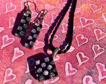 Fused Glass Jewelry Set with Pink Dots