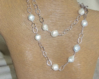 Sterling Silver Free Form Fresh Water Pearl Necklace