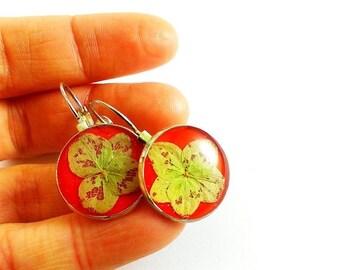 SALE 20% OFF Ruby red wedding earrings Pressed flower earrings Bridesmaid earrings Floral earrings Red earrings Ruby earrings Ruby jewelry e