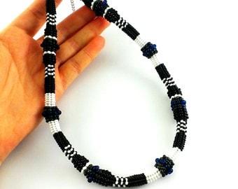 Black necklace Beaded necklace Beaded choker necklace Black choker Black jewelry gift necklace Evening jewelry Black gift idea gothic