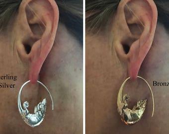 Pair Lizard Earring Animal Jewelry Bronze Silver Nature Pair of Earrings