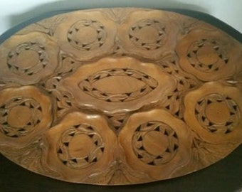 Vintage Oriental Carved Wood Tea Tray For 8 Cups  And Place For Tea Pot