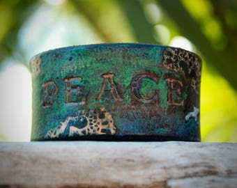 At Peace // Leather Cuff // Leather Bracelet