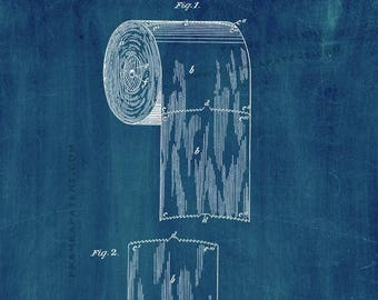 CLEARANCE - Toilet Paper Patent Print - 11x17 Midnight Blue