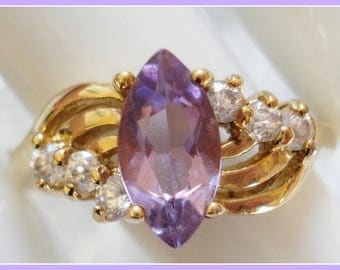 VERMEIL CZ RING Size 6 Purple White