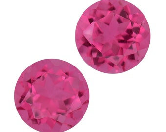 Radiant Orchid Quartz Round Cut Triplet Loose Gemstones Set of 2 1A Quality 8mm TGW 4.25 cts.